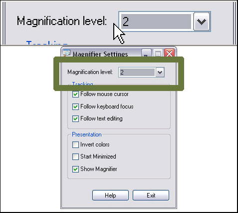 Magnify Screen: Windows XP